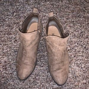 Justfab ankle booties, tan, size 9.5